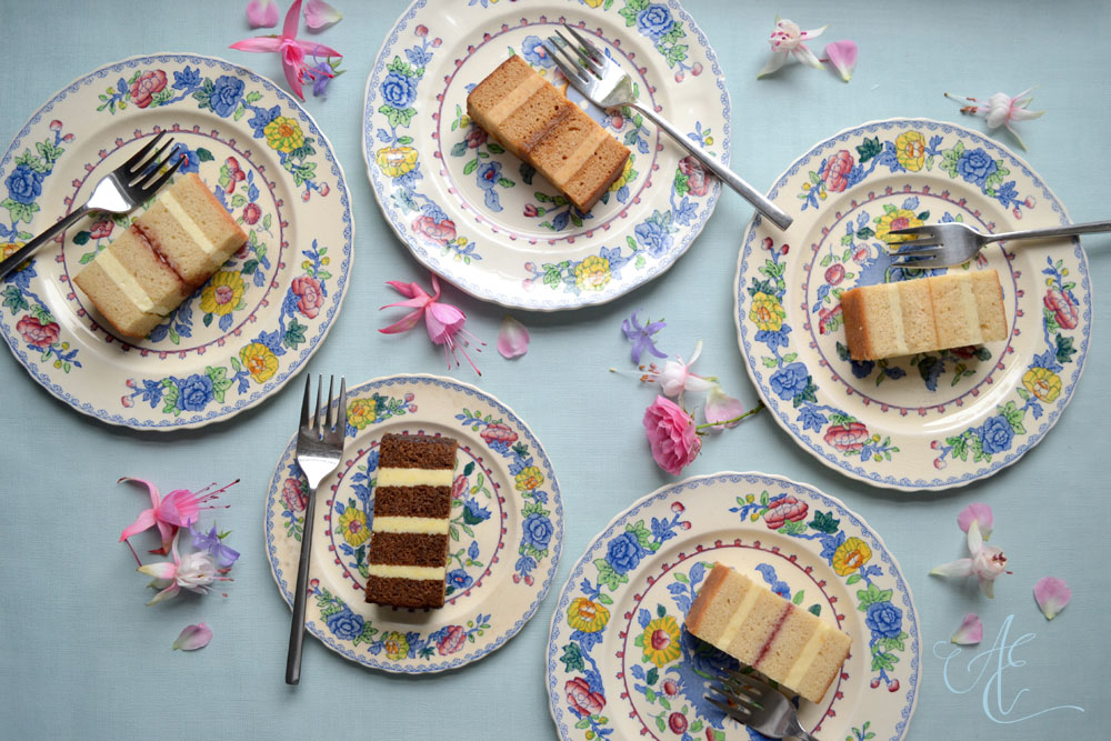 vintage plated cake slices and a scattering of fresh pink fuchsia and roses