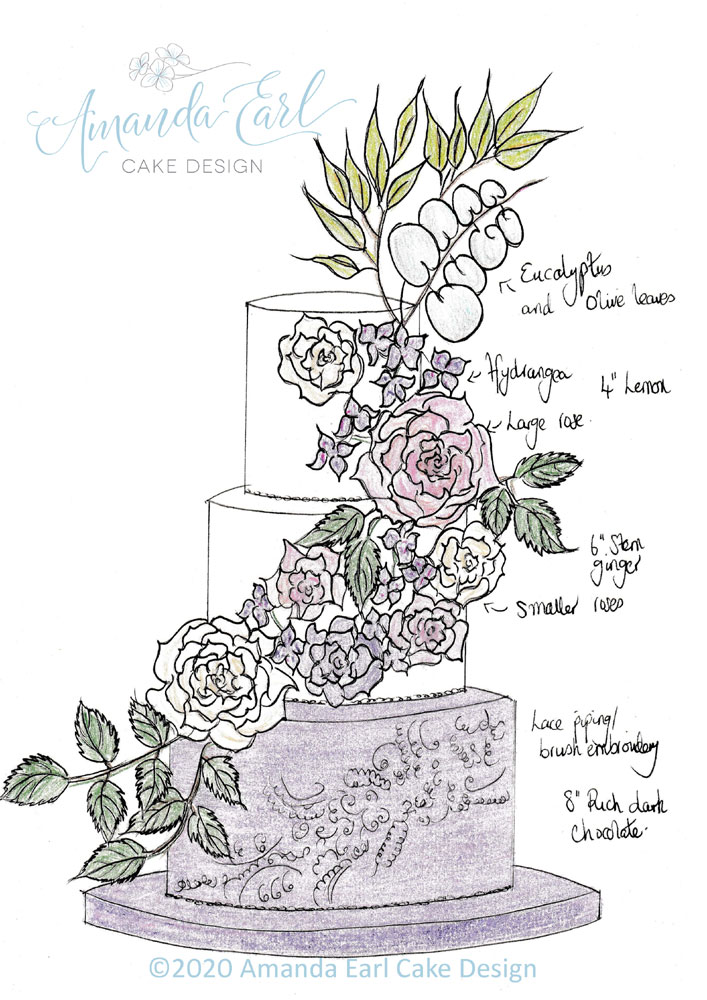 lilac floral wedding cake final sketch