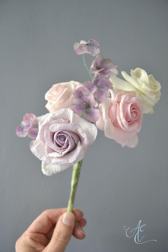lilac pink ivory sugar rose and hydrangea arrangement