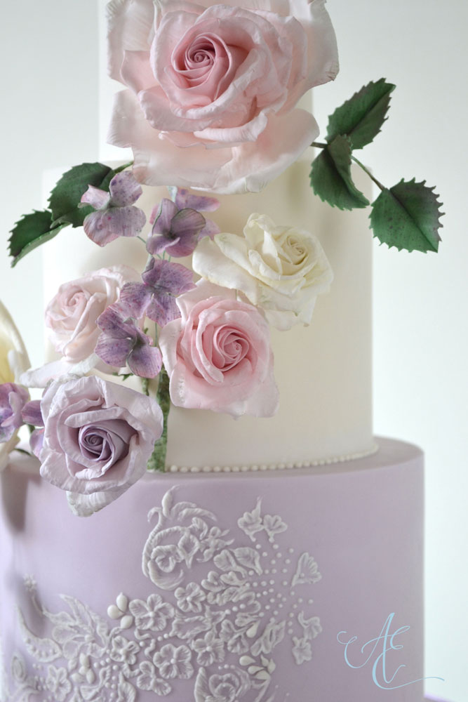 close up pink ivory and lilac sugar flowers
