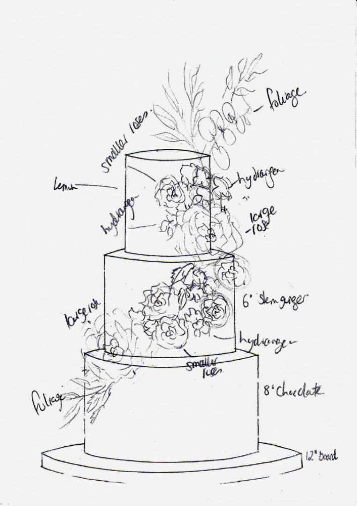 rough floral wedding cake sketch