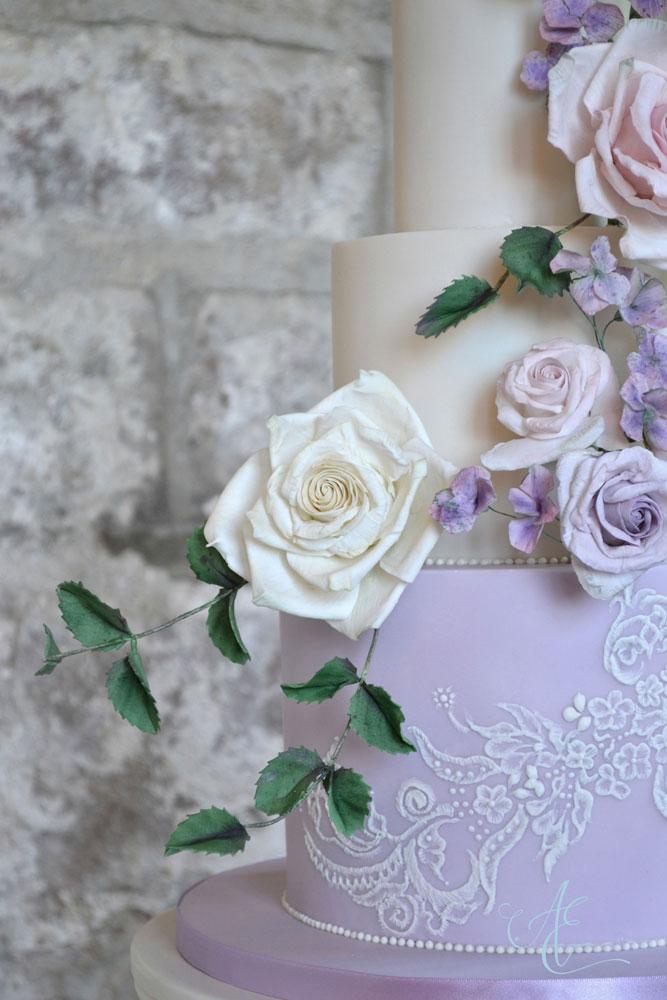 close up lace wedding cake