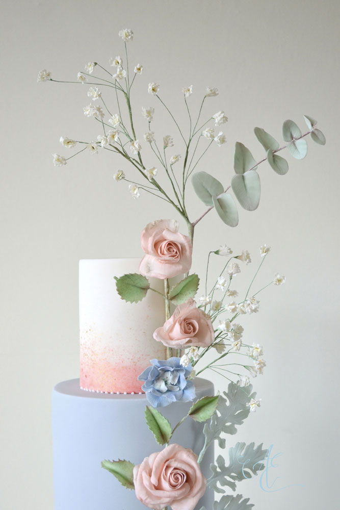 blush and blue wedding cake top tiers