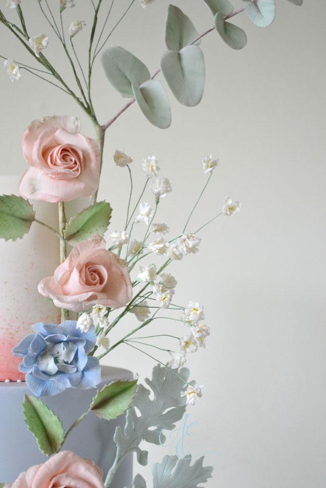 close up sugar roses and gypsophila