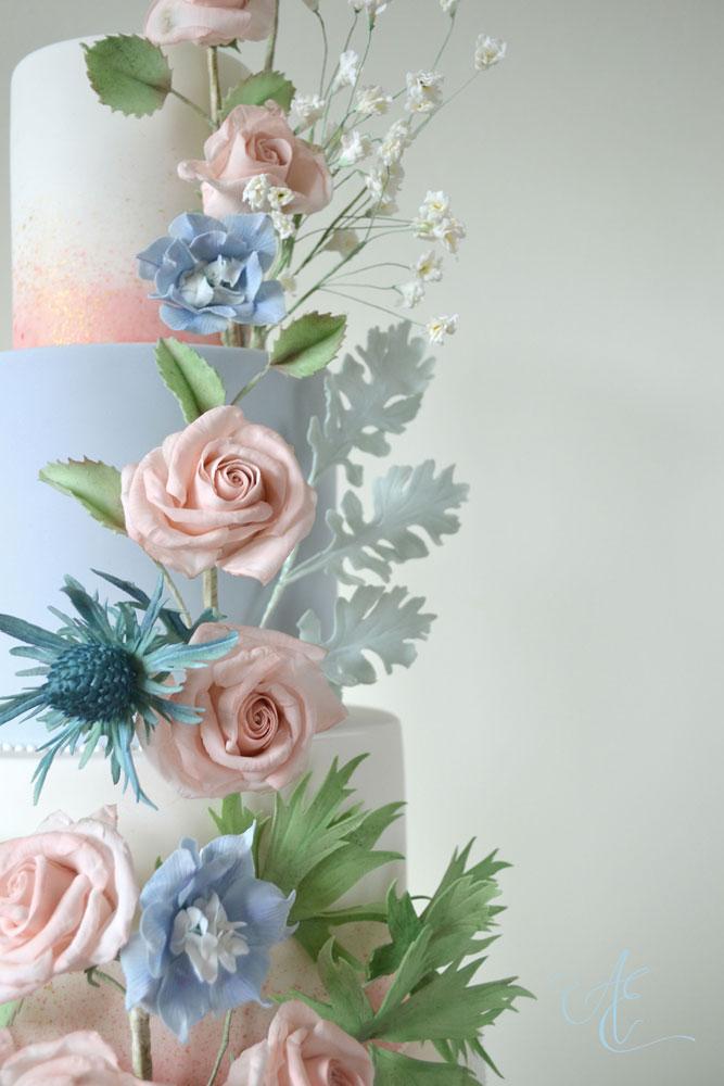 blush and blue sugar flowers close up