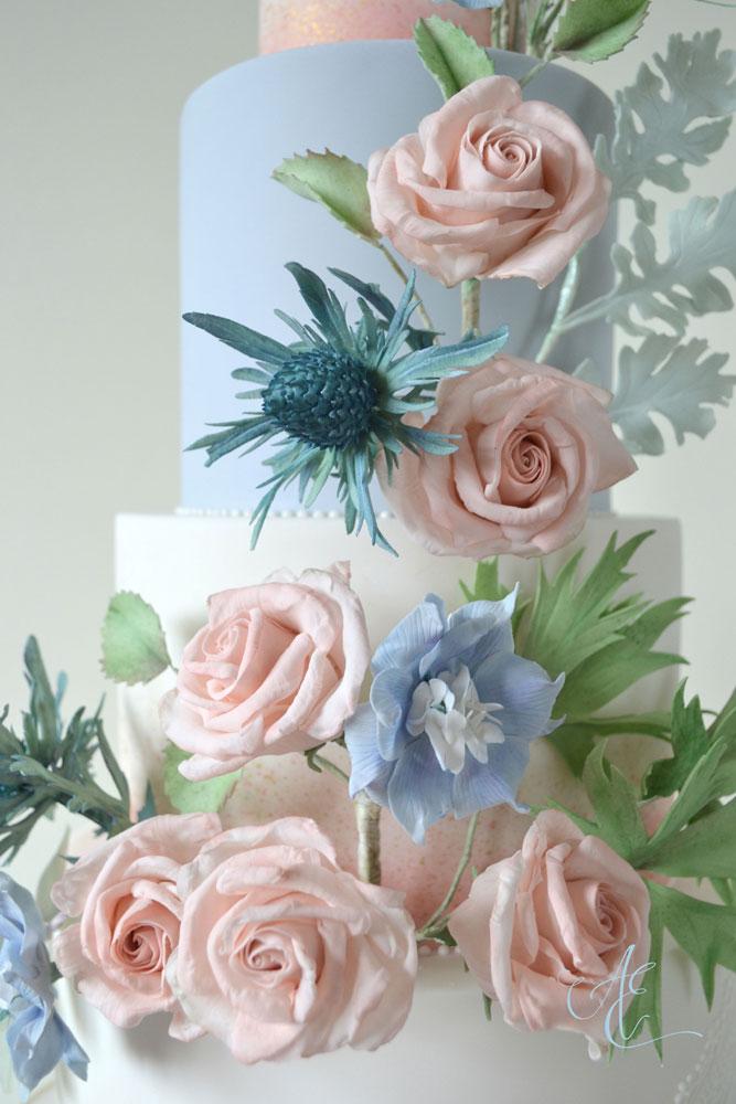 blush and blue sugar floral wedding cake
