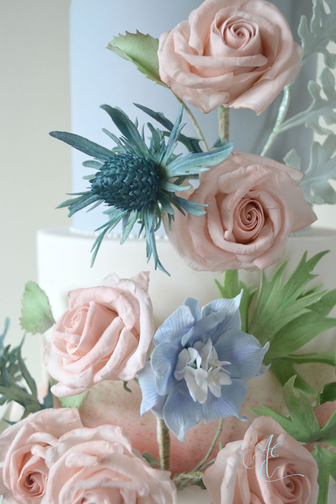 close up sea holly and delphinium