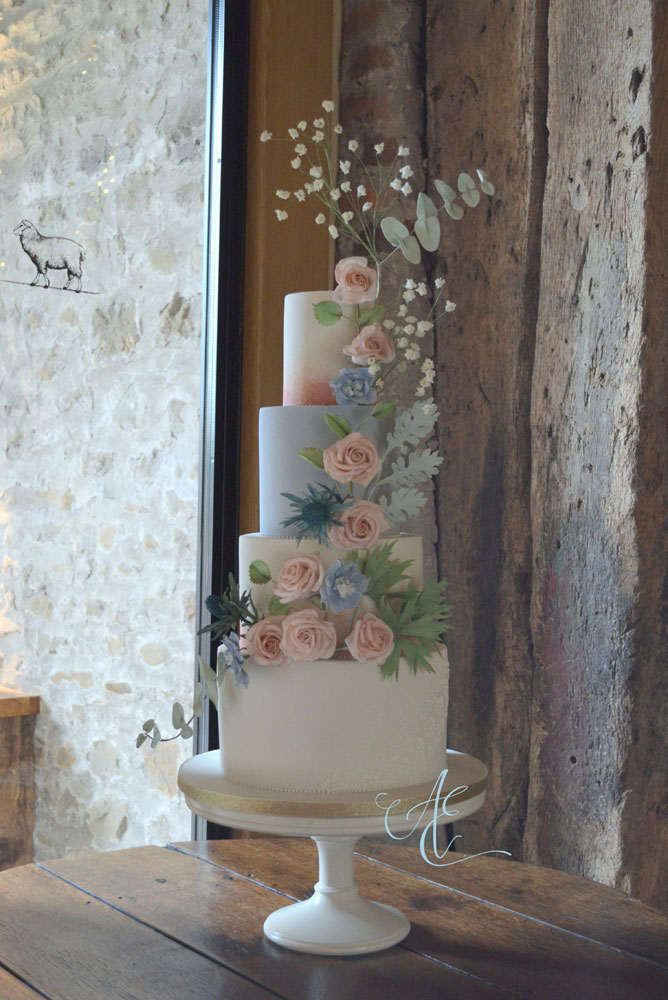 blush and blue wedding cake tithe barn wedding