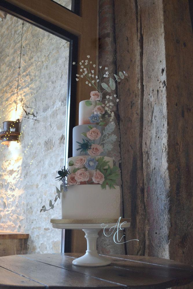 blush and blue floral wedding cake tithe barn wedding
